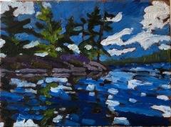 Blue Lake Reflection 9x12 Oil