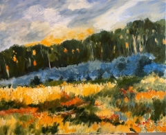 Field and Forest at Dusk 16x20 oil