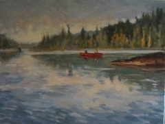 Red Canoe 18x24 oil SOLD